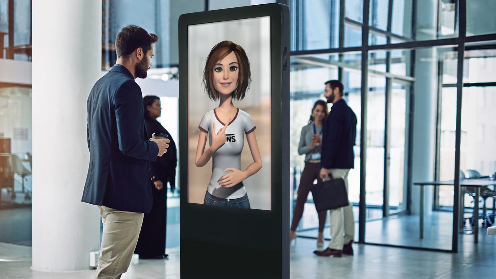 man standing and interacting with prsonas hologram on a screen